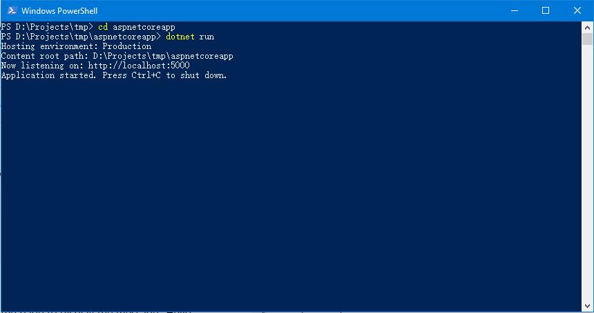 运行新创建的ASP.NET Core项目