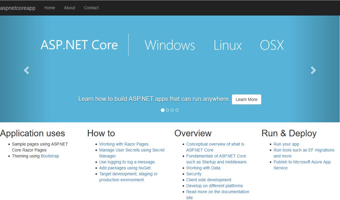 ASP.NET Core项目默认的首页