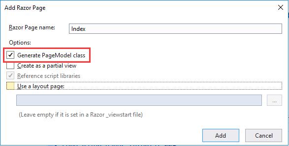 创建带PageModel类的Razor页面