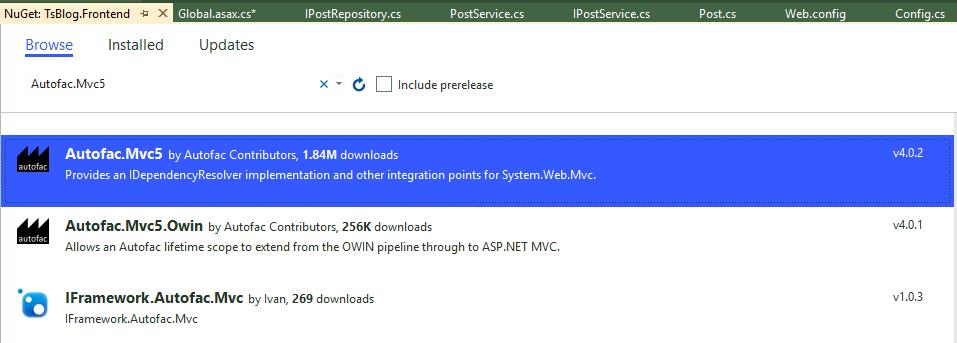 Nuget程序包管理--安装Autofac.Mvc5