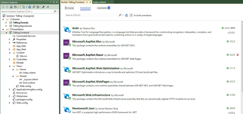 一步一步创建ASP.NET MVC5程序--Repository+Autofac+Automapper+SqlSugar--Nuget包管理界面