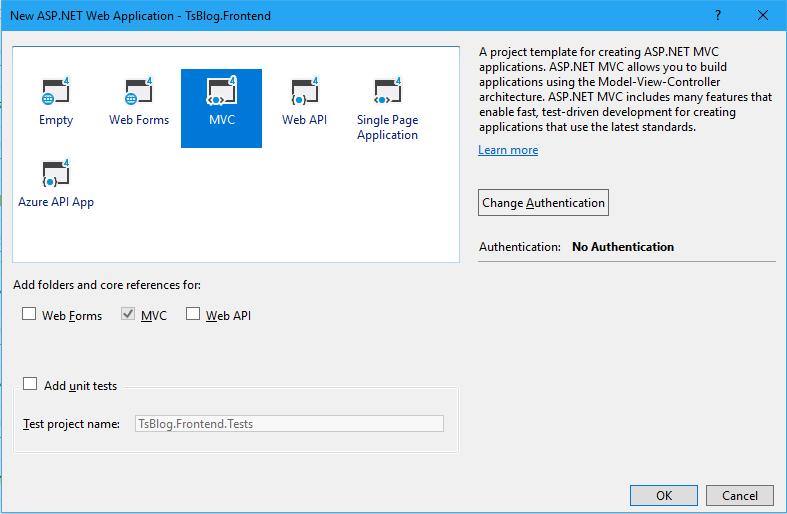 一步一步创建ASP.NET MVC5程序--Repository+Autofac+Automapper+SqlSugar--选择MVC模板